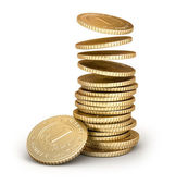 Golden coins falling in pile isolated on white — Stock Photo