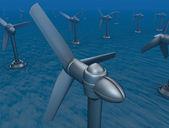 Underwater turbine tap river energy — Stock Photo