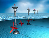 Tidal energy: generator in the ocean — Stock Photo
