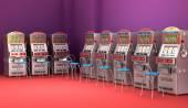 Slot machines in the casino Interior — Stock Photo