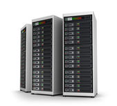 Row of network servers in data center isolated on white — Stock Photo