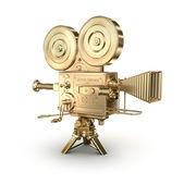 Gold video camera on a white background — Stock Photo