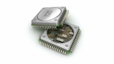 Central computer processors CPU isolated on white background — Stock Video