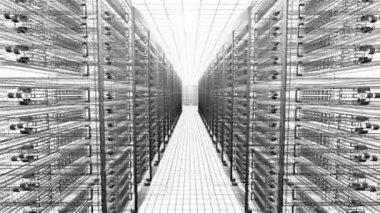 Mesh view - interior of server room in datacenter — Stock Video