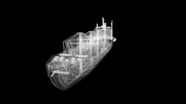 Oil tanker ship wire model isolated on white. loop. My own design — Stock Video