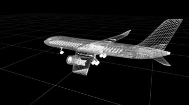 Airplane wire model , isolated on white. My own design — Stock Video
