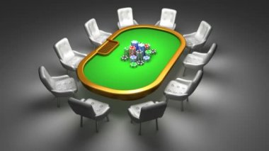 Poker table with chairs interior animation — Stock Video