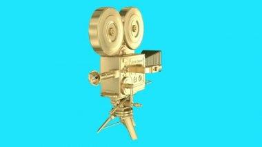 Gold video camera loop rotation — Stock Video