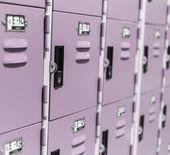 Row of Lockers. purple lockers detail — Stock Photo