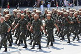 Soldiers parading in celebration of the independence of Brazil — Foto Stock