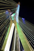 Bridge suspended on cables lit with LED lights — Stock Photo