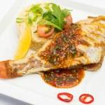 Постер, плакат: Жареная рыба и овощи