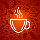 Cup of coffee and beans — Stock Vector