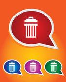 Editable Vector Icon of Garbage can Dustbin On Speech Bubble Shape. EPS 10 — Stock Vector