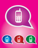 Editable Vector Icon of Mobile phone On Speech Bubble Shape. EPS 10 — Stock Vector