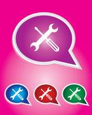 Editable Vector Icon of Tools On Speech Bubble Shape. EPS 10 — Stock Vector