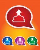 Editable Vector Icon of Uploading Cloud On Speech Bubble Shape. EPS 10 — Stock Vector