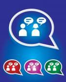 Editable Vector Icon of Male & Female User On Speech Bubble Shape. EPS 10 — Stock Vector