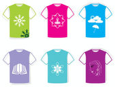 Set of 6 Colourful vector different style men's T-Shirts (front view). with Different Icons — Stock Vector