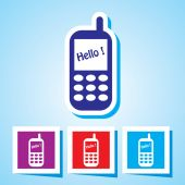 Editable Vector Icon of Mobile phone On Speech Bubble Shape. — Stock Vector