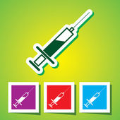 Colourful editable icon of Medical syringe with vaccine - Vector — ストックベクタ