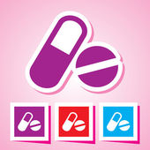 Pills and capsules icon set, Colourful vectors collection — Stock Vector