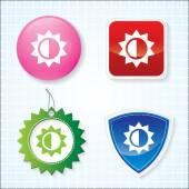 Icon of Brightness on for Different Buttons. Eps-10. — Stock Vector