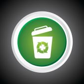 Icon of recycle Bin. garbage can. On Button. Eps-10. — Stockvektor