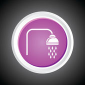 Icon of Bathroom Shower On Button. Eps-10. — 图库矢量图片