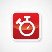 Icon of Alarm Clock on Red Glossy Button. Eps-10 — Stock Vector