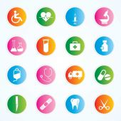 Medical Icons On Colorful Buttons Eps-10 — Stock Vector