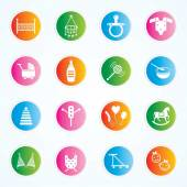 Baby Icons Illustration on buttons. Eps-10 — Stock Vector