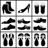 Collection of shoes — Stock Vector