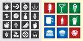Food & Fruit Icons — Stock Vector
