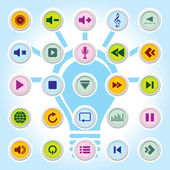 Media player Icons On Colour Buttons Backgrounds Eps-10 — Stock Vector