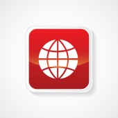 Very Useful Icon of Worldwide Globe on Red Button. Eps.-10. — Stock Vector