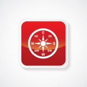 Very Useful Icon of Compass directions on Red Glossy Button. Eps-10 — Stockvector
