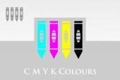 CMYK Pencils design — Stock Vector
