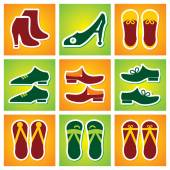 Collection of Colourful shoes Icon — Stock Vector