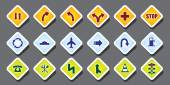 Traffic sign on colorful background — Stock Vector