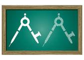 Editable icon of Maths compass Isolated On Green Blackboard — Stock Vector