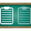 Editable icon of clipboard Isolated On Green Blackboard — Stock Vector #55840117