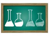 Editable icon of Lab Equipment Isolated On Green Blackboard — Stock Vector