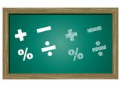 Editable icon of MATHS SYMBOLS Isolated On Green Blackboard — Stock Vector