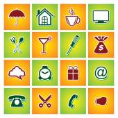 Icons sets Isolated on Colourful Background. Vector EPS 10 — Stockvektor