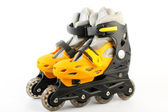Yellow & Black Colored roller skates isolated on white — Stockfoto