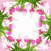 Cornice con fiori tulipani — Vettoriale Stock