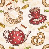 Seamless pattern with tea set — Stock Vector