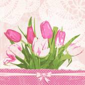 Vintage greeting card with tulips — Stock Vector