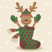 Cute reindeer and sock — Stock Vector